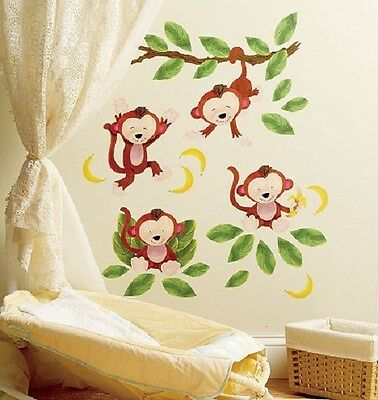 New BABY MONKEYS WALLIES WALL DECALS Baby Nursery Kid Room Stickers Monkey Decor