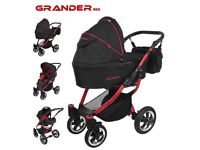 3 in 1 black and red pram