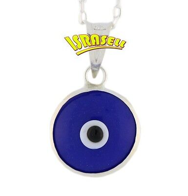 925 Sterling Silver EVIL EYE PROTECTION NECKLACE - Blue Pendant - charm luck