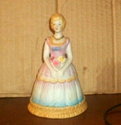 Vintage Porcelain Lady Bell 1978 C.M.I. Boston w/ Flowers Slippers as Clanger