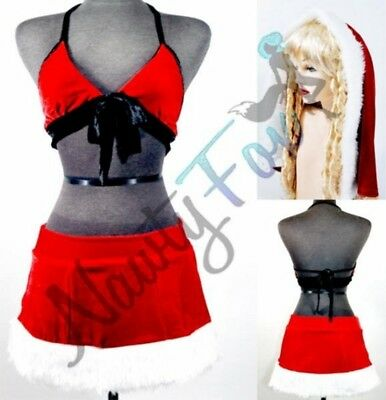 Sexy Naughty School Girl Christmas Santa Dress Womens Halloween Costume M - Naughty School Girl Halloween Costumes