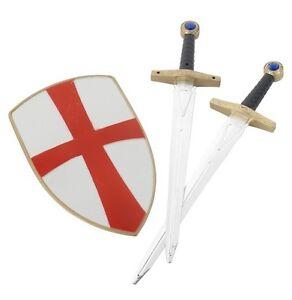 Boys-Knight-Fancy-Dress-2-x-Sword-Shield-Set-Crusader-Toy-New-by-Smiffys