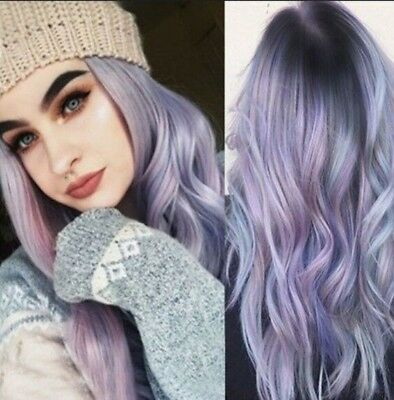 JO Women Purple Ombre Long Straight Hair Blue Mixed Color Gradient Curly Wig US (Blue Ombre Wig)