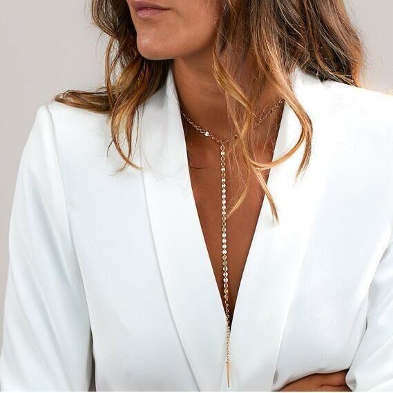 Women Fashion Jewelry Long Pendant Chain Choker High Statement Bib Necklace