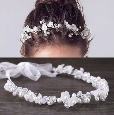 a Haarschmuck Haarband Prinzessin Blumenmädchen Perlen Blume (Mädchen Tiara)