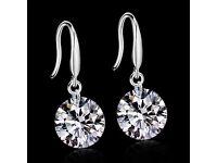 Real Silver Earrings with CZ Diamond Jewellery