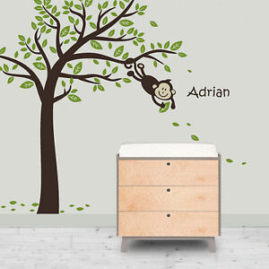 Cute-Monkey-Tree-And-Your-Baby-Name-Vinyl-Wall-Paper-Decal-Art-Sticker-T175