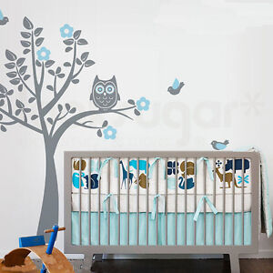 Cute-Owl-Birds-Flowers-Tree-Vinyl-Wall-Paper-Decal-Art-Sticker-T176
