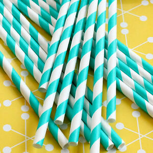 50-Aqua-and-White-Striped-Paper-Straws-Vintage-Style