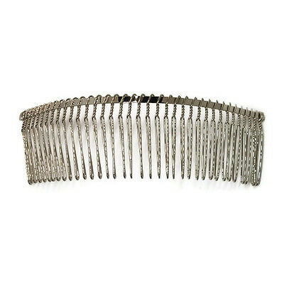 """6 Metal Hair Combs 36 Wire Teeth Silver Bridal Prom Supply Accessory 5.7"""" 145mm"""