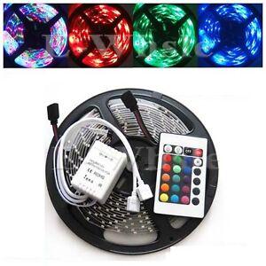 5M-300leds-3528-RGB-Non-Waterproof-Flexible-Strip-Lights-24Key-IR-Controller-New