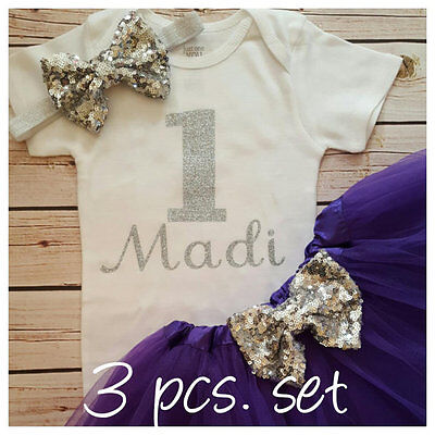 First birthday outfit,Silver One bodysuit,Purple And Silver,Purple tutu,  - Silver Tutus