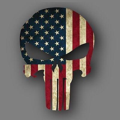 Punisher Distressed American Flag Die Cut Decal Sticker Car Truck 5