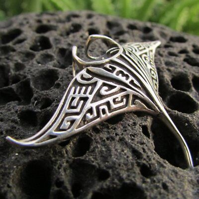 Manta Ray Necklace. Sterling Silver. Tribal Design. Handmade.