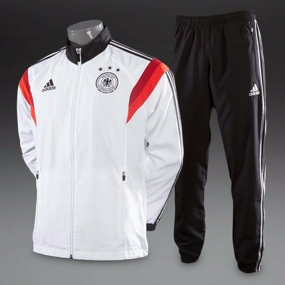 Adidas Mens Germany Presentation Suit - White & Black (Size L) (Brand New With Tags)