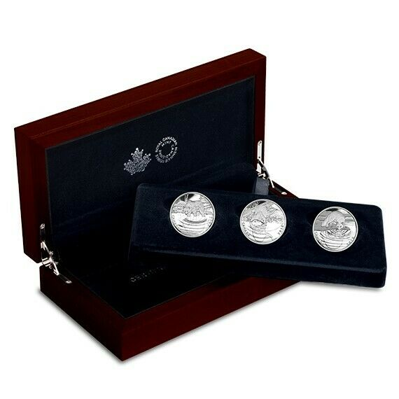 2016 Royal Canadian Mint Reflections of Wildlife Silver 3-Coin Set w/Display Box