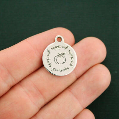 Give Thanks Pumpkin Stainless Steel Charms  - Quantity Options - BFS2693