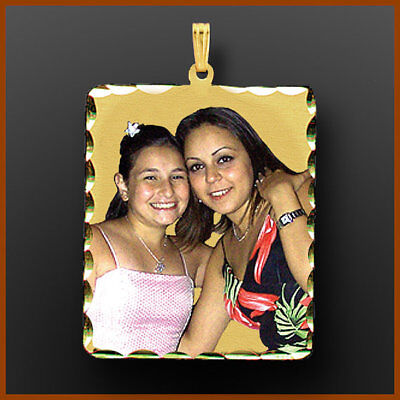 - 14k Gold Square Personalized Photo Picture Pendant Necklace Charm Gift for Her