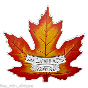 CANADA-039-S-COLOURFUL-MAPLE-LEAF-SHAPE-COIN-2016-20-1-oz-Fine-Silver-Coin-RCM