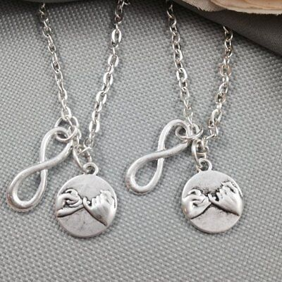 2x Pinky Promise Swear Necklace Infinity Friendship Sisters Couples Best (Best Infinity Friends Circle Necklaces)