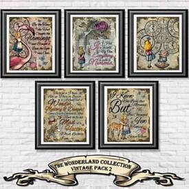 Alice in Wonderland, Art Prints on antique dictionary book pages. Home decor, Wall hangings Posters