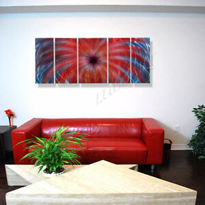 abstract red blue painting art wall sculpture METAL unique decor
