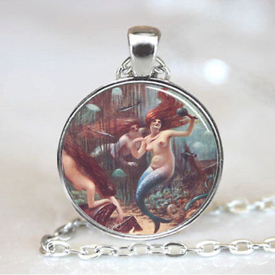 Three Mermaids Necklace photo Tibet silver Cabochon glass pendant chain Necklace