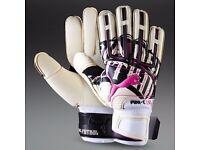 Puma Powercat 1.12 Grip Goalkeeper Gloves-Size 8-White/Black/Pink
