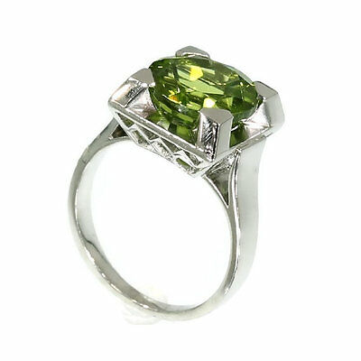 14K White Gold 4CT Olive Green Peridot Engagement Ring French 1920 Ring (Olive French Ring)