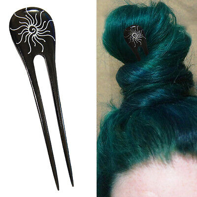 1PC Handcarved Black Paint Exotic Double Prong Hair Stick Silver Spiral Sun OS - Silver Hair Paint