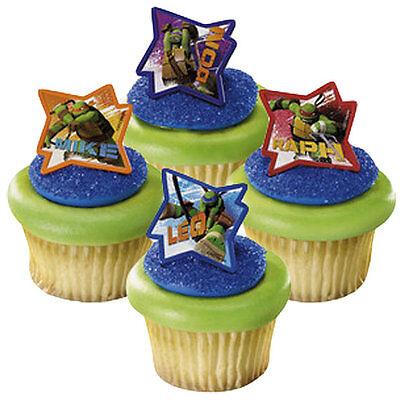 Ninja Turtles 24 Cupcake Rings Birthday Party Favors, Prizes Bag Fillers Decor - Ninja Turtles Party Bags