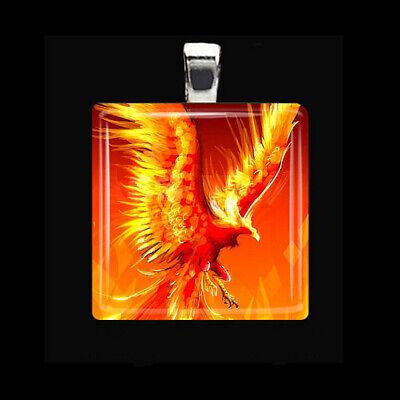 Eagle Glass Pendant - FLAMING PHOENIX Fire Bird Eagle Hawk Glass Tile Silver Pendant Necklace