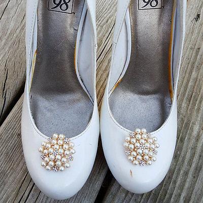Wedding Shoe Clips, Bridal Shoe Clips, Shoe Clips, Pearl Rhinestone Shoe Clips