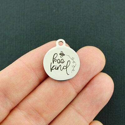 Bee Kind Stainless Steel Charms - Quantity Options - BFS4647](Bee Charms)