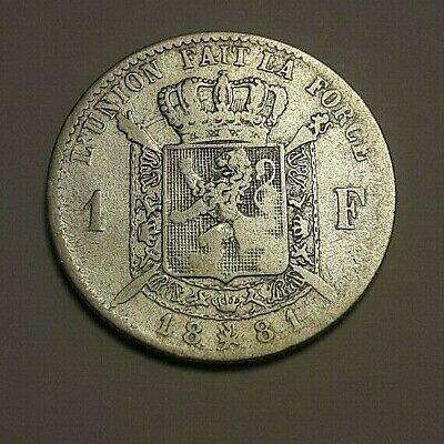 ==> 1 Franc 1881 Belgique Belgïe Frank Belgium Leopold II KM# 28 LA# BFM-86 <<==