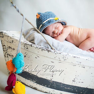 Fishing Hat and Four Fish - Photography Prop - Sizes: Newborn -