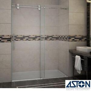 "NEW ASTON LANGHAM SHOWER DOORS SDR978-CH-60-10 137970039 60""x75"" - FRAMELESS CHROME FINISH CLEAR GLASS- BATHROOM SHOW..."