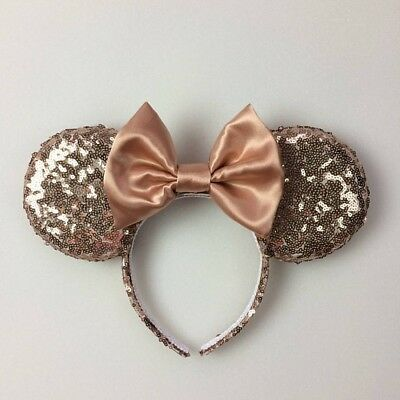 Rose Gold Sequin Minnie Mouse Ears, Sequin Ears, Mickey Mouse Ears, Sequin Mouse
