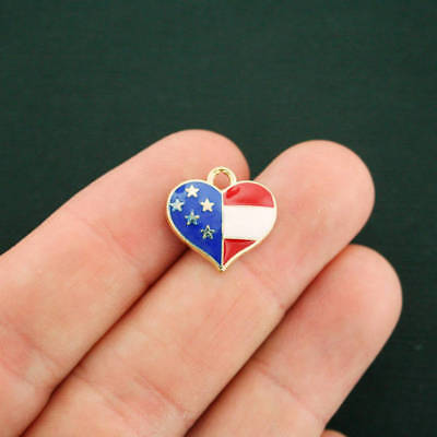 4 American Flag Heart Gold Plated Enamel Patriotic and Colorful - (American Flag Heart)