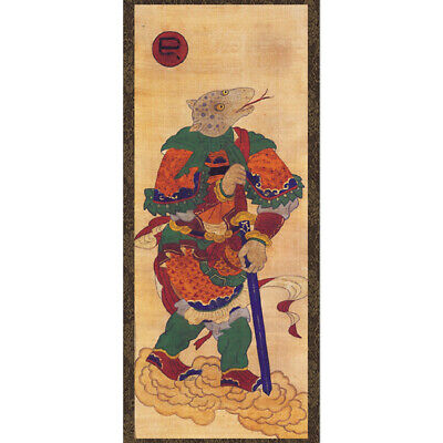 Chinese Zodiac Sign 12 Animals Snake Wall Hanging Scroll Korean Folk Painting