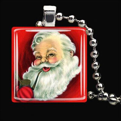 - VINTAGE JOLLY Christmas Santa Claus Winter Snow Glass Tile Pendant Necklace
