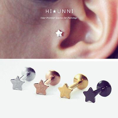 Star Cartilage Earring Stud - 16g Star Internally threaded labret / tragus ear stud / cartilage earrings / 1pc