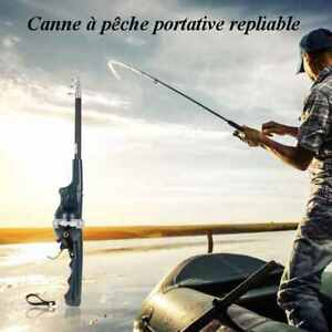 CANNE À PÊCHE automatique repliable 1.33m + MOULINET + FIL VVV