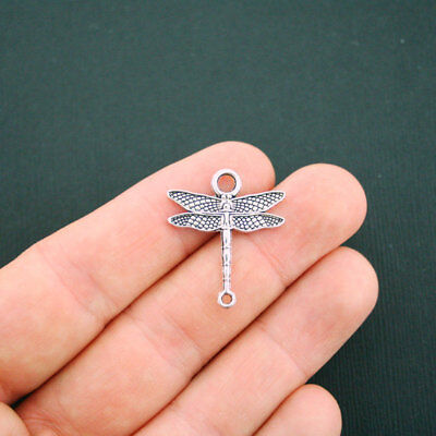 10 Dragonfly Connector Charms Antique Silver Tone 2 Sided - SC5662](Dragonfly Charms)