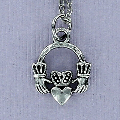 Claddagh Necklace - Pewter Charm on Chain or Charm Only Love Friendship Hand NEW Love Pewter Charm