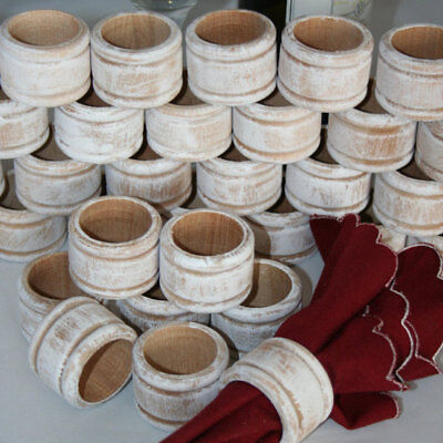 1 Rustic Wood Napkin Ring Holder Wedding Napkin Rings White Washed Wood - Napkin Ring Holders