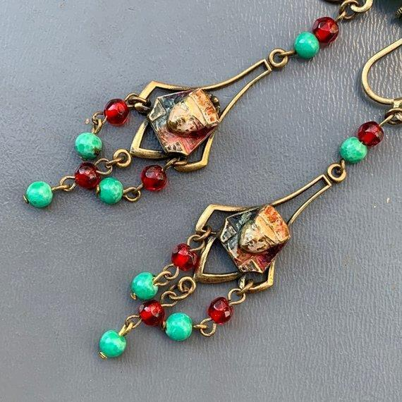 Vtg  Art Deco Czech Glass  Egyptian Rev Gold Gilt Brass Enamel Dangle Earrings