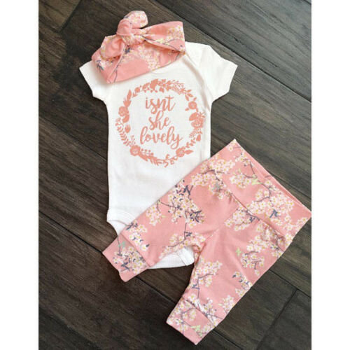 Newborn Baby Girl Floral Outfits Clothes Short Sleeve Romper +Pants Headband Set