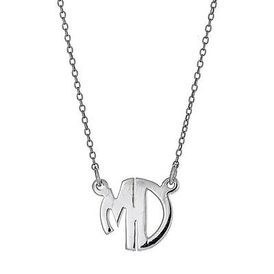 Modern .925 Sterling Silver Rounded Double-Letter Monogram Pendant with Chain,2g