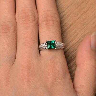 2Ct Princess Cut Green Emerald Solitaire Engagement Ring 14K White Gold Finish
